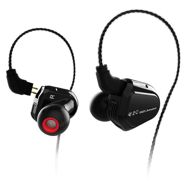 Ak trn v20 dd + ba híbrido no ouvido fone de alta fidelidade dj monitor correndo esporte fone de ouvido headplug 2pin cabo trn v80/v30/bt20/x6