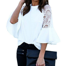 Women Shirts Summer Blusas Office Lady Patchwork Lace Solid Shirt Casual Loose White Black Blouses Tops WS4315V