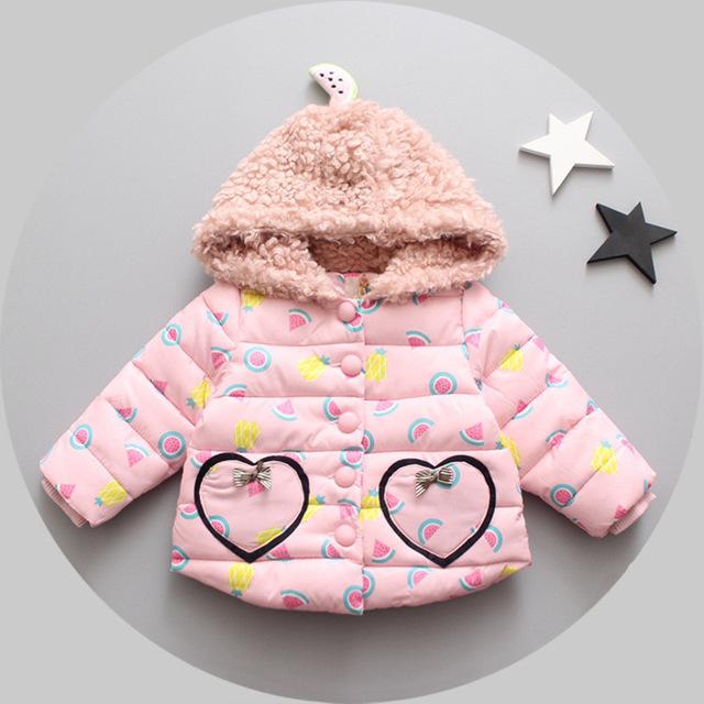 2016 nova queda jaqueta baby girl princesa roupas mais grossas de inverno crianças casaco meninas 100% algodão roupas 1-3 anos frete grátis