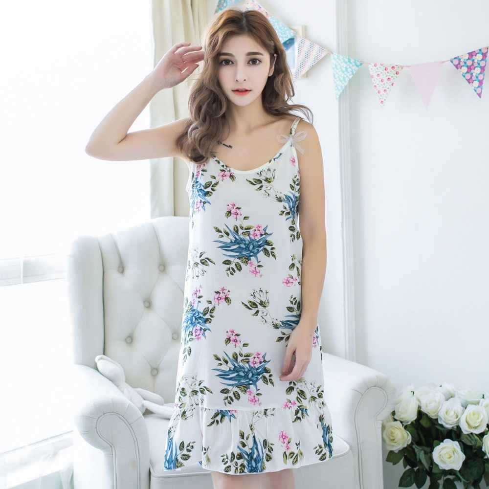517adffe1e ... Summer Sexy Korean Night Dress Women s Nightgown Nightwear Cotton  Spaghetti Strap Print Ladies Long Nightdresses Sleepwear