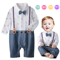 2016 menino cavalheiro romper gravata borboleta manga longa infantil macacão macacões criança bebe roupas macacão traje do bebê
