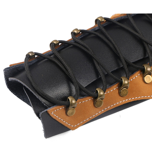 Traditional Cowhide Archery Arm Protector Guard For Hunting Restraint with Hardware Fasteners 3
