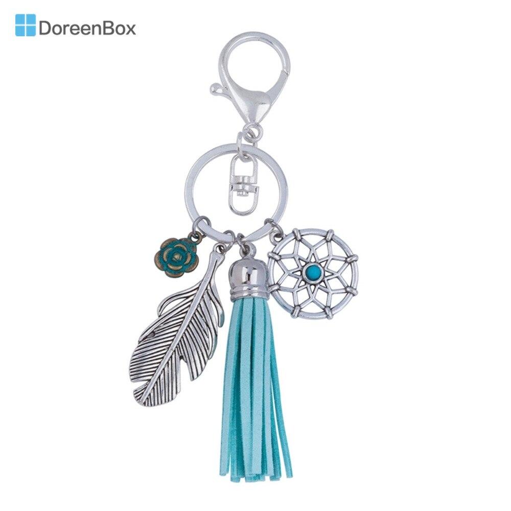 Doreen Box Velvet Suede Vintage Keychain & Keyring Silver Plated Green Tassel Dreamcatcher Feather 13.8cm(5 3/8