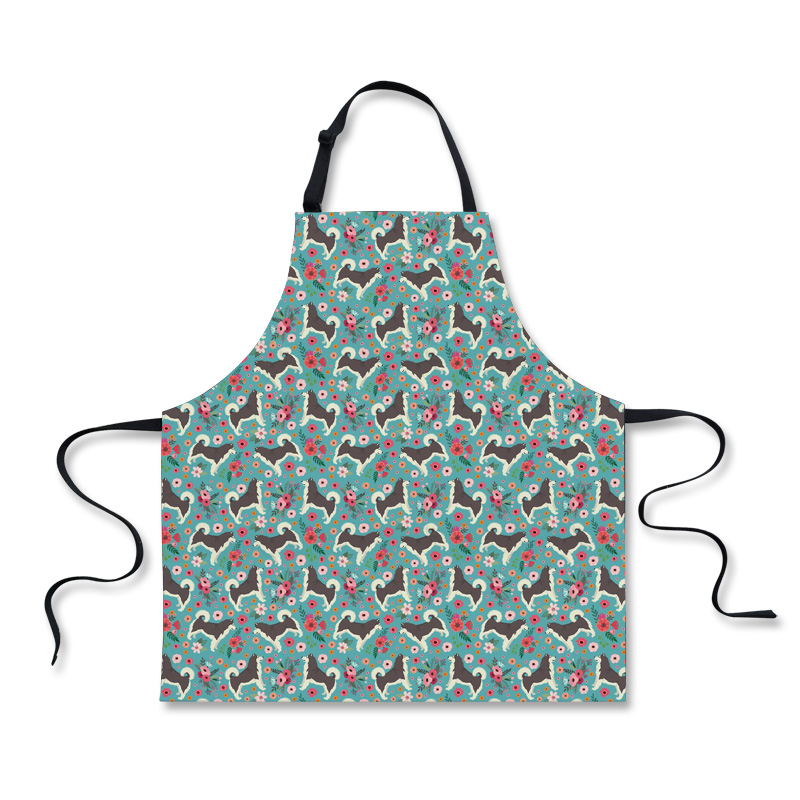 Aprons Brave Forudesigns Apron Cafe Waitress Bar Bakery Catering Uniform Painter Florist Gardener Alaskan Malamute Flower Printed Work Wear