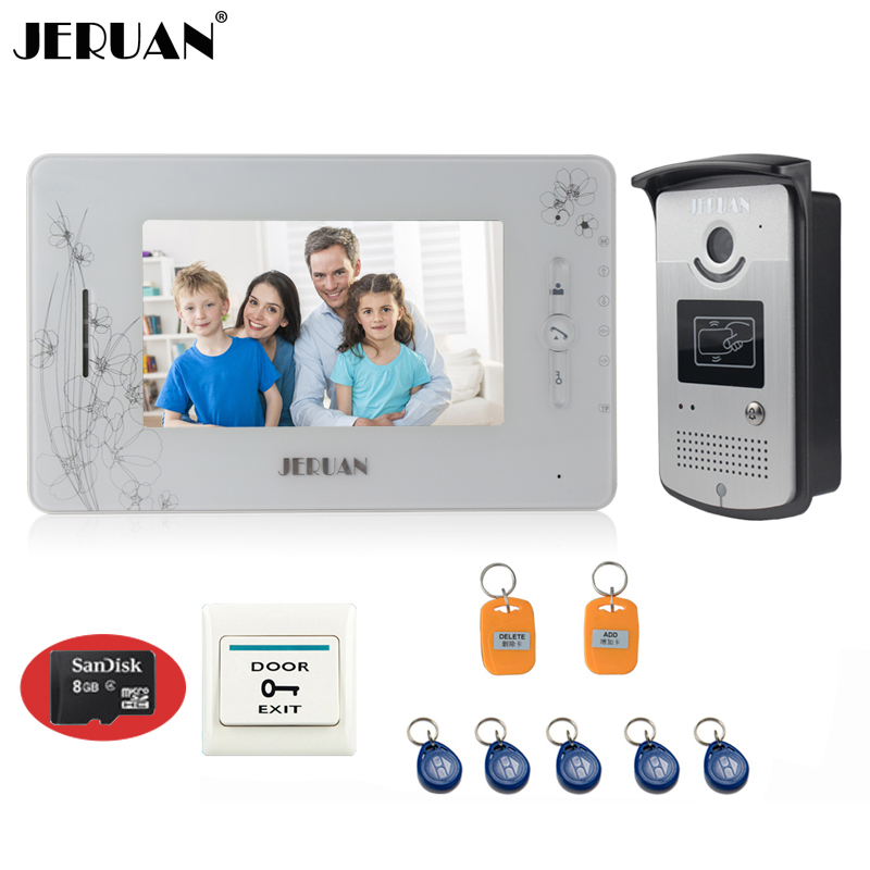 JERUAN Apartment 7``Video Intercom Door phone System With video Recording Monitor 8GB Card+RFID Reader Door Camera FREE SHIPPING free shipping brand new 7 home video intercom door phone system with recording monitor rfid card reader door camera wholesale