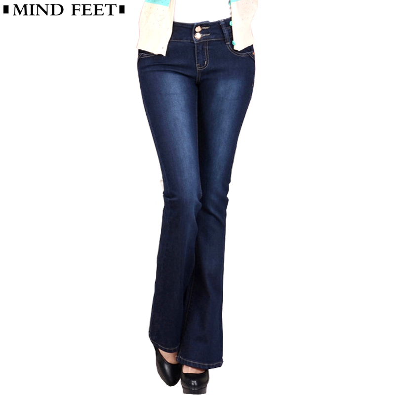MIND FEET Women   Jeans   Slim Plus Size Female Stretch Denim Flares Pants Breathable High Quality Fashion Bell Bottom Trousers