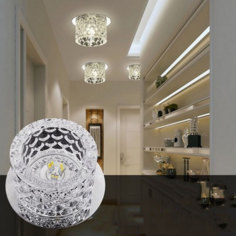 T Lucury Small Circular Crystal Ceiling Light Modern Creative LED Super bright Lamps For Foyer Corridor Balcony Bedroom DHL Free fumat modern minimalist bedroom ceiling light corridor balcony glass lampshade light kitchen round metal ceiling lamps