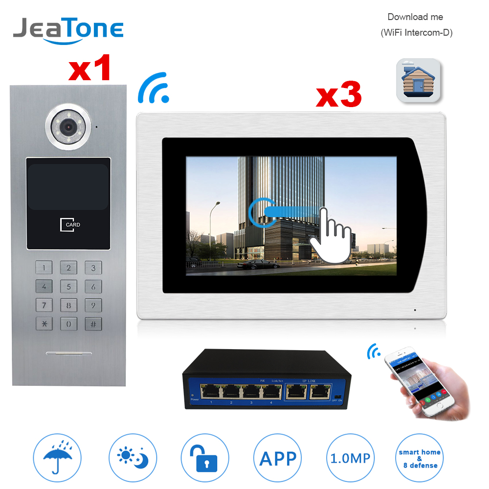 7''WIFI Video Door Phone IP Doorbell Intercom Touch Screen for Building Access Control System 1 to 3 Password/IC Card/iOS Phone 7 inch password id card video door phone home access control system wired video intercome door bell