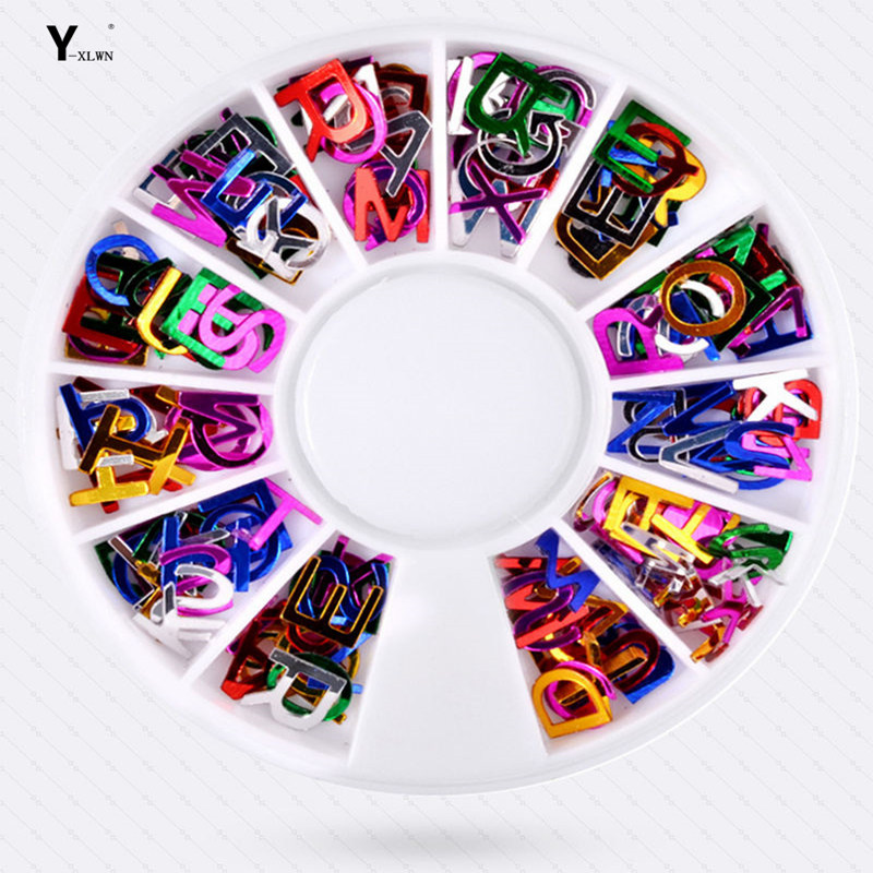 Y-XLWN  Nail Color Shaped Alphabet Jewelry Disc Nail Jewelry 12 Pack Nail Stickers Nail Jewelry