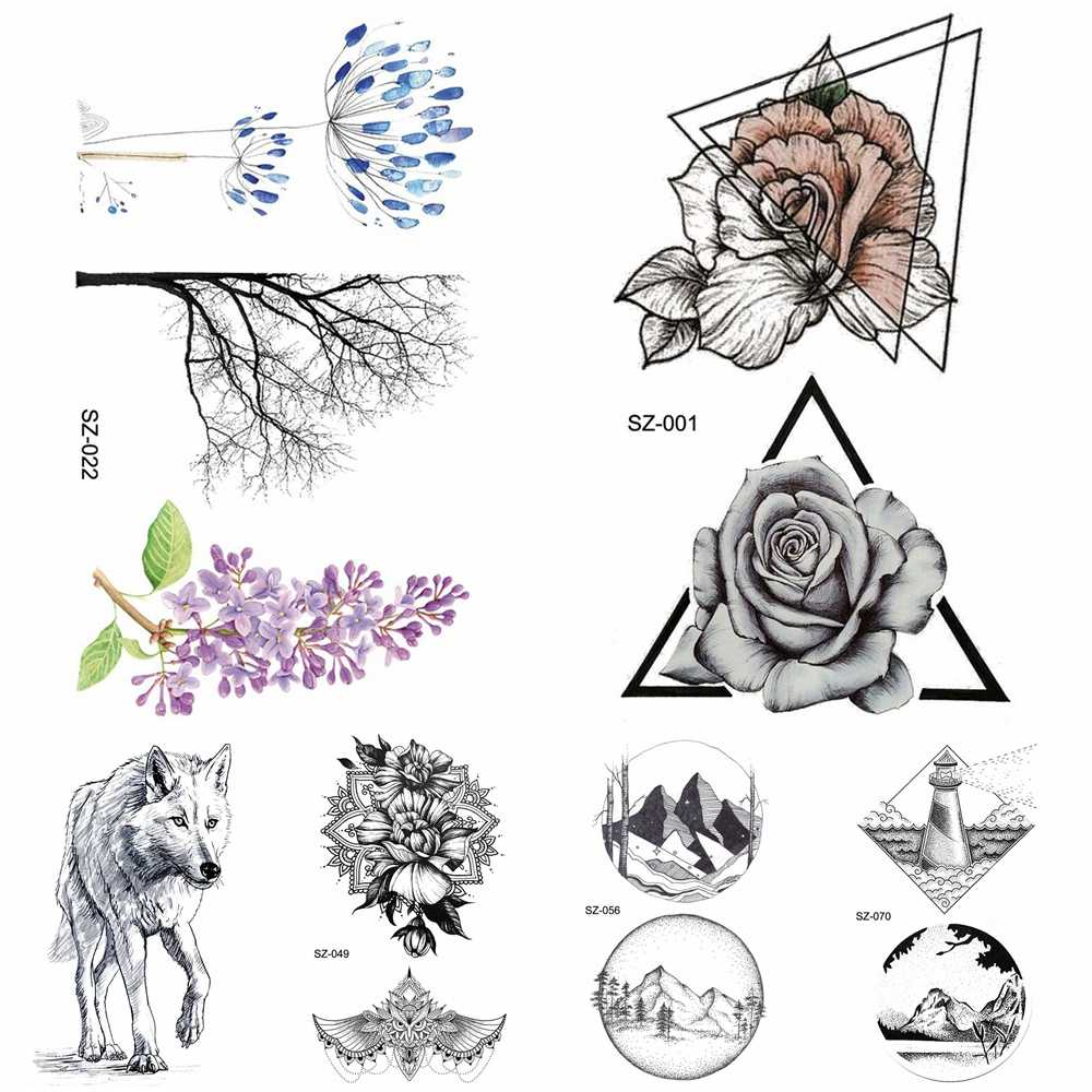 3d Sketch Temporary Women Tattoo Stickers Girls Arm Geometric Triangle Rose Fake Tatoos Small Black Wolf Waterproof Tattoo Round
