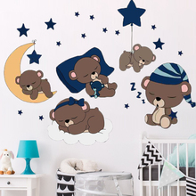 Cartoon Cute Bear Sleeping With Star Moon Wall Stickers for Kids Nursery Baby Lovely Animal Vinyl Decals Poster Home Decor