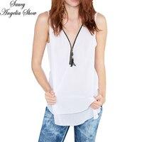 SAUCY ANGELIA Women Summer Tank Top White Chiffon Hollow Out T Shirt Sexy Zipper Deep V Tee Femme Camisetas Vest Plus Size XXXL