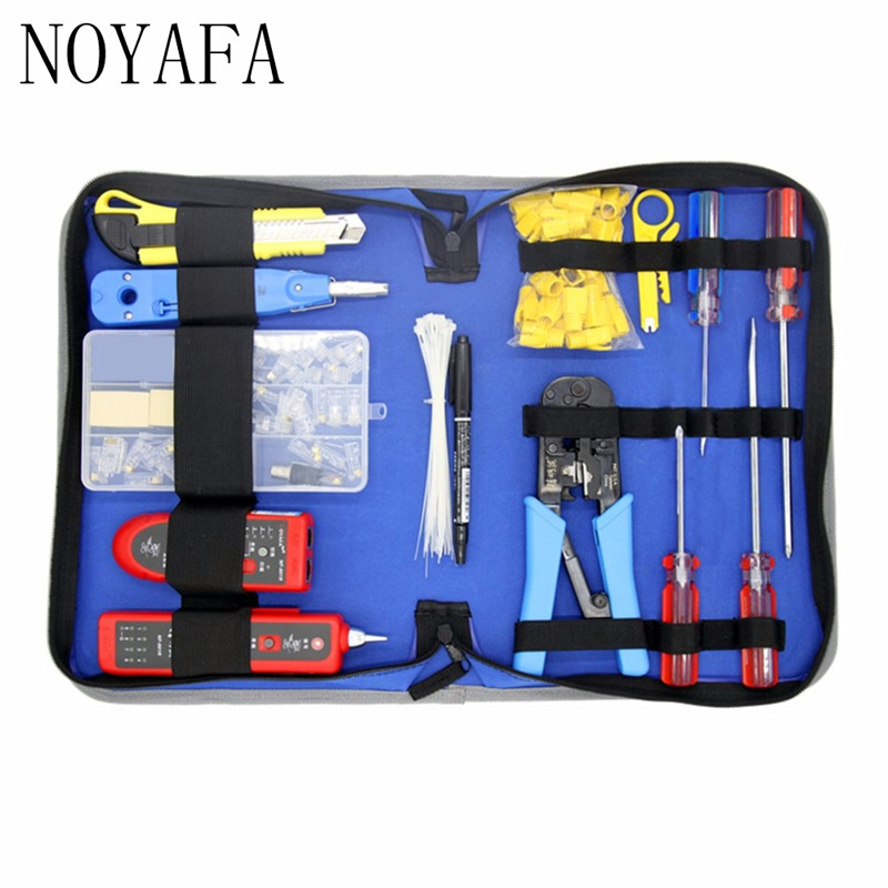 NF-1507 Network Repair Tool Kit Wire Tracker NF-801 Punch Down Tool Crimping Tool Wire Stripper Screwdrivers Tool Set Bag pz0 5 16 0 5 16mm2 crimping tool bootlace ferrule crimper and 1k 12 awg en4012 bare bootlace wire ferrules