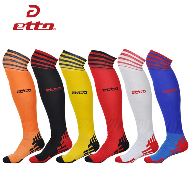 Etto Professional Knee High Sports Socks Thicken Towel Striped Soccer Socks Sweat Deodorant Cotton Soft Football Sox HEQ008