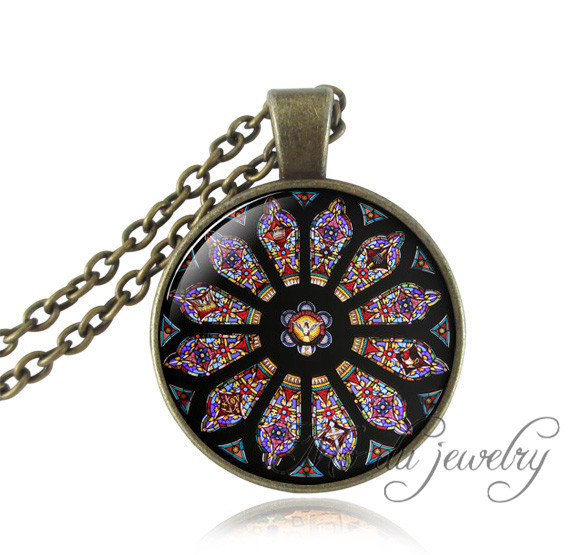 Christian jewelry stained glass notre dame de paris pendant picture christian jewelry stained glass notre dame de paris pendant picture stained glass necklace for women men gothic style religious in pendant necklaces from aloadofball Choice Image