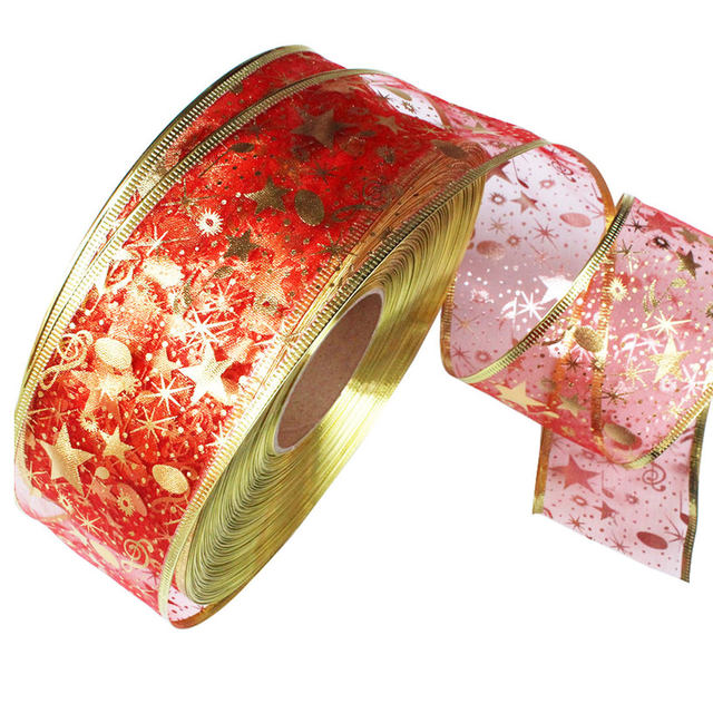 DIY Card Gift Wrapping Lace Crafts Handmade Satin Edge Organza Star Ribbon Bow Hair Wedding Christmas Decoration 200*5cm 23