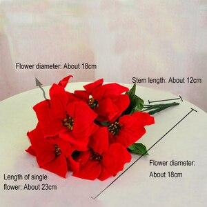 Image 4 - Real Touch Flanell Künstliche Weihnachten Blumen Rote Weihnachtsstern Büsche Bouquets Weihnachten Baum Ornamente Mittelpunkt