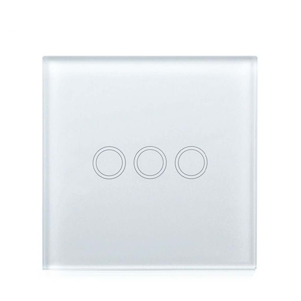 EU Standard Touch Switch 3 Gang 1 Way, Tempered Glass Panel Light Switch, Touch Wall Switch AC 110V ~ 240V (50Hz-60Hz) smart home eu touch switch led wall light touch switch 220v 3 gang 1 way waterproof crystal tempered glass panel