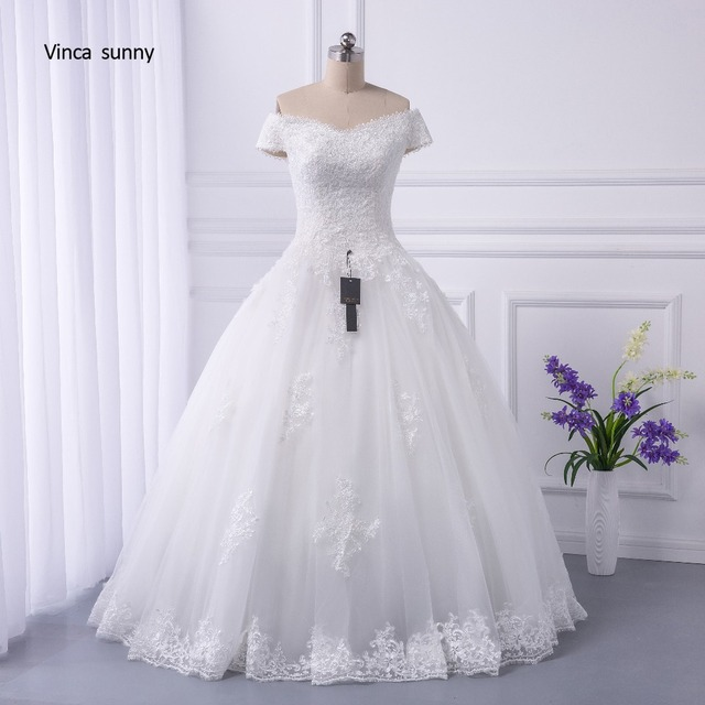 vinca sunny Real Pictures Ball Gown Bridal Dress Vintage Muslim Plus ...