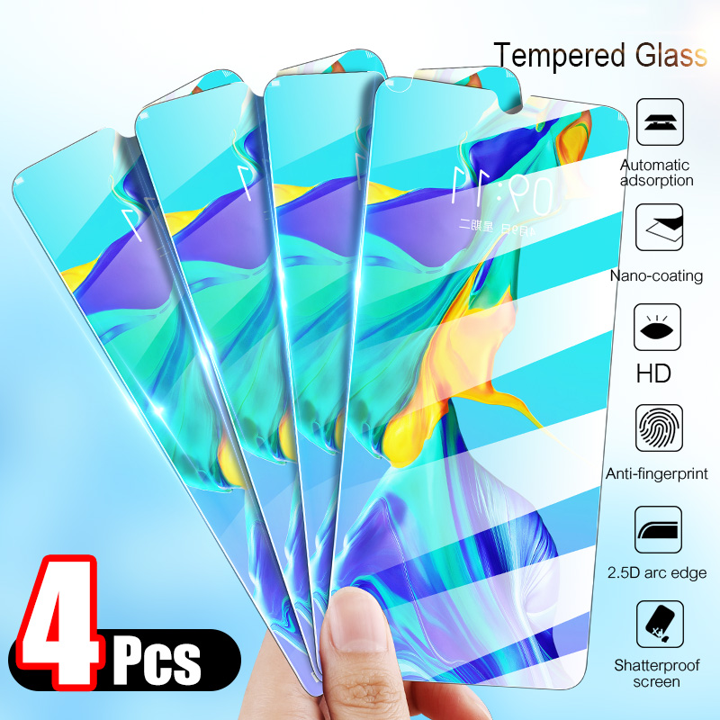 4Pcs Tempered Glass For Huawei P30 Lite P20 Pro P Smart 2019 Screen Protector Protective Glass For Huawei Mate 10 20 Lite Glass