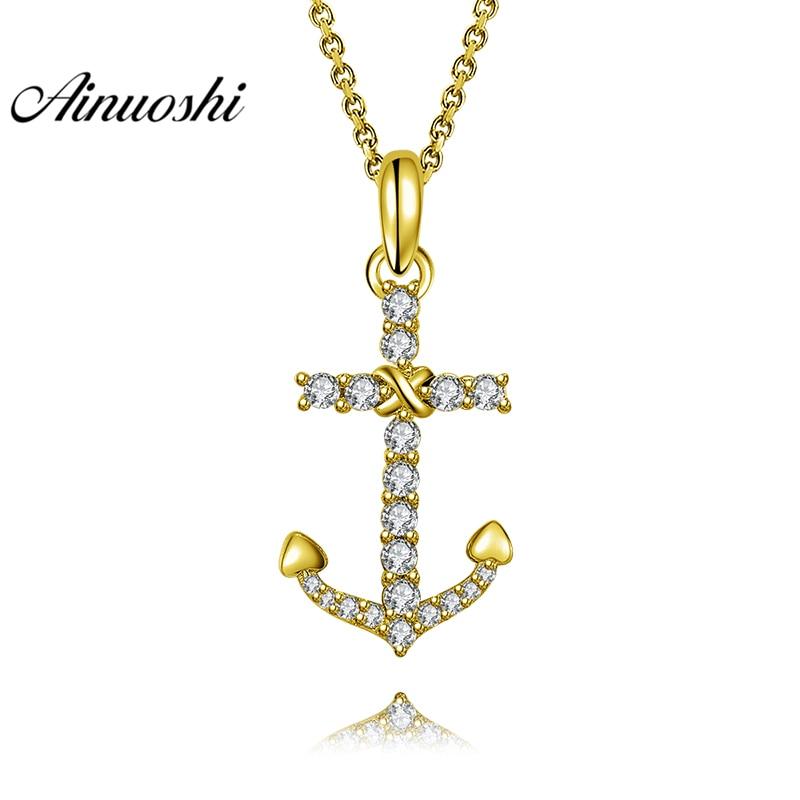 AINUOSHI 10K Solid Yellow Gold Pendant Arrow Pendant SONA Diamond Women Men Jewelry Simple Arms Design 1.4g Separate Pendant