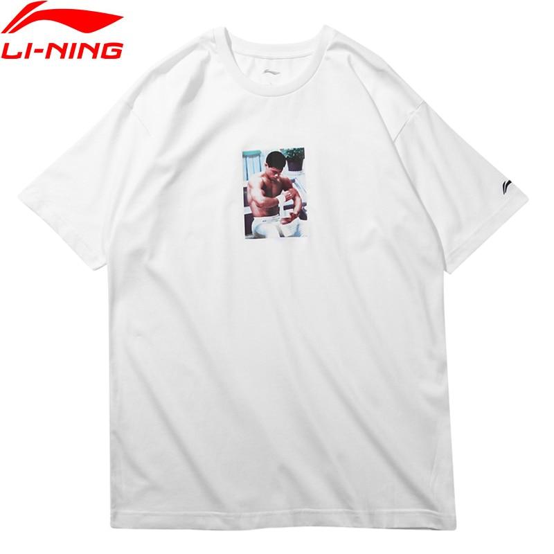 Li-Ning Men T-Shirt NYFW Mr. Li OG TEE Bella Hadid Regular Fit 73% Cotton 37% Polyester LiNing Sport T-shirt Tee AHSN695 MTS2731 men cloud print tee