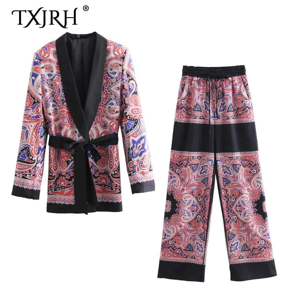 TXJRH Stylish Cashew Paisley Print Notched Collar Sashes Bow Tied Mid Long Blazer Coat Fashion Suit Outerwear Tops + Pants 1 Set