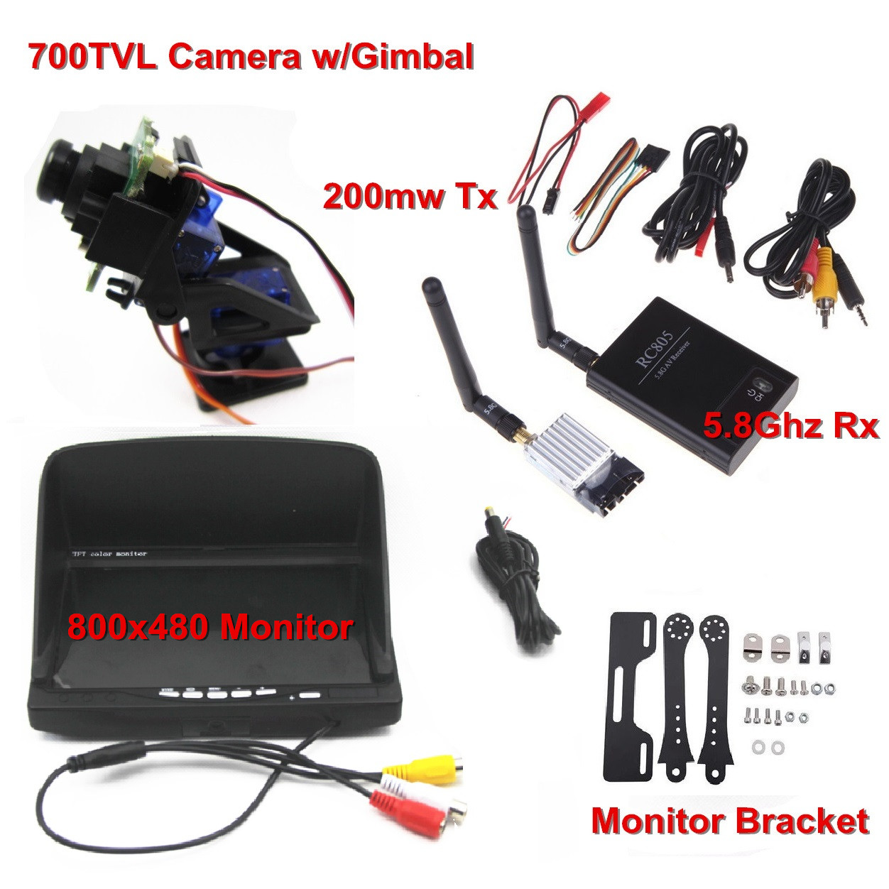 FPV Combo 5.8Ghz FPV System 700TVL camera w/gimbal 5.8Ghz Rx and 200mw Tx and 800x480 Monitor For FPV QuadcopterFPV Combo 5.8Ghz FPV System 700TVL camera w/gimbal 5.8Ghz Rx and 200mw Tx and 800x480 Monitor For FPV Quadcopter