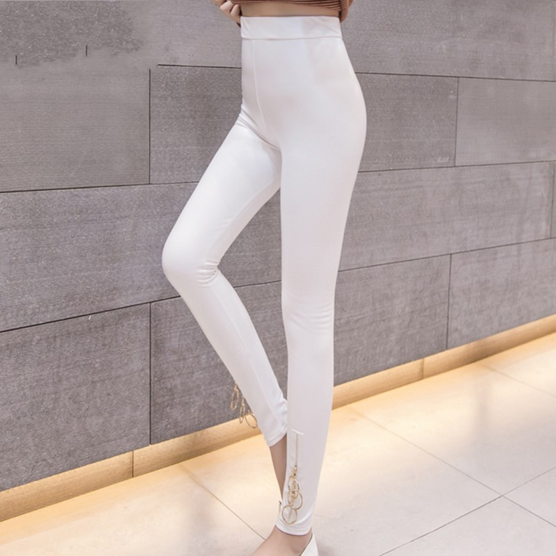 2018 Summer White Women PU Leather   Pants   Zipper   Capris     Pants   Trousers Women High Waist Black Stretch Pencil   Pants   Pantalon Femme