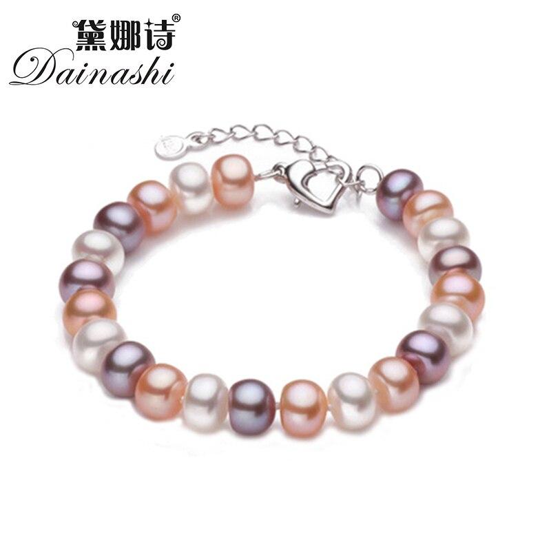 Dainashi Aujourd'hui Affaire Pierre Naturelle D'eau Douce larme Perle bracelets pour femmes filles cadeaux 925 fermoir en argent sterling chaîne