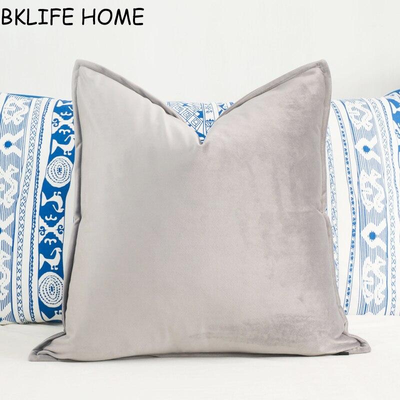 Soft Medium Gray Velvet Cushion Cover Hemming Envelope Pillowcase Light Grey Throw Pillow No Balling-up Without Stuffing