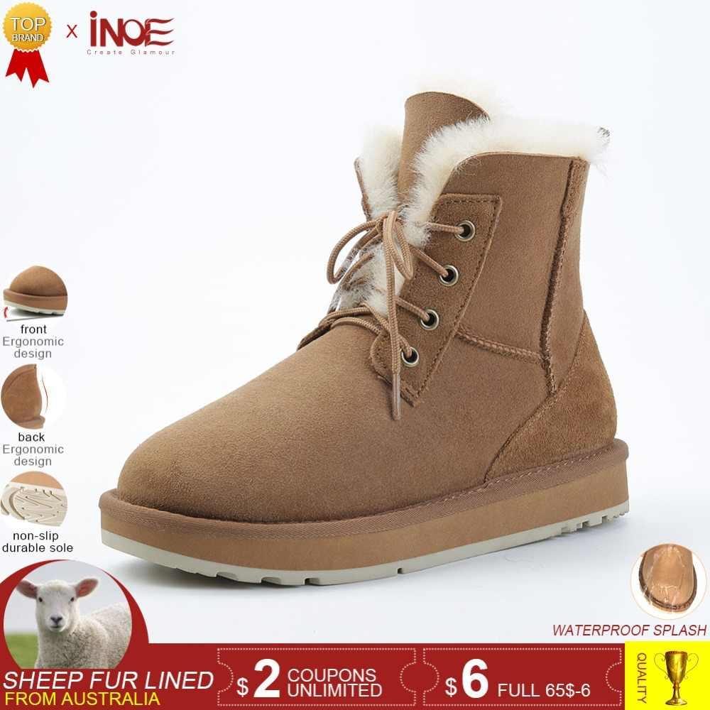 a9204f9d2b99 INOE обувь женская Модные зимние сапоги из натуральной кожи на овечьем меху  женские ботильоны зимние ботинки