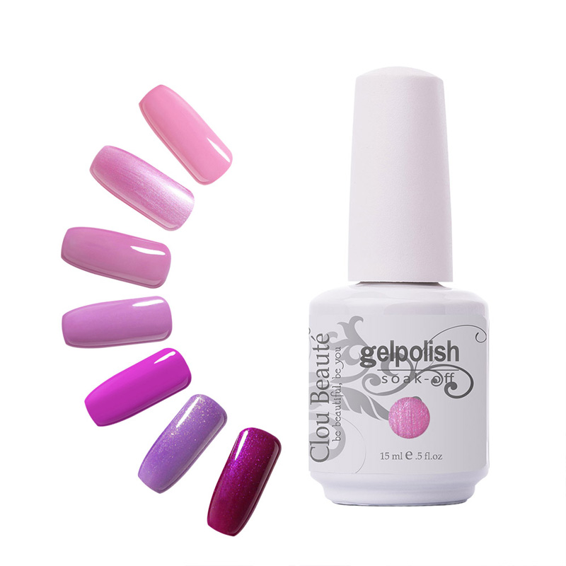 Indah 220 Warna 15ml Clou Beaute 1 Piece Gel Kuku UV Warna Rendam Off Gel Polish UV Led Lampu Kuku Gel Kuku