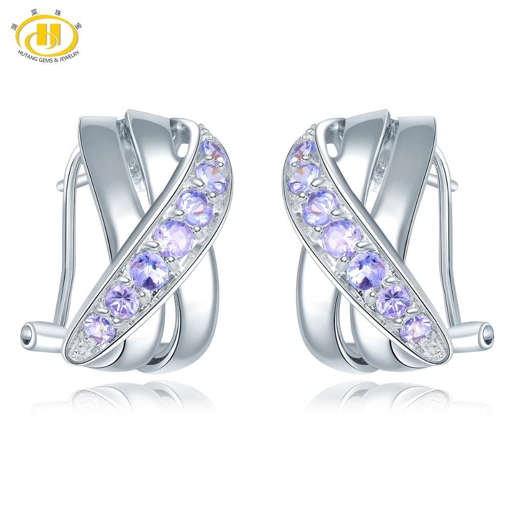 Hutang Tanzanite Stud Ohrringe Natürliche Edelstein Solide 925 Sterling Silber Feine Mode Stein Schmuck für frauen Mädchen Geschenk neue