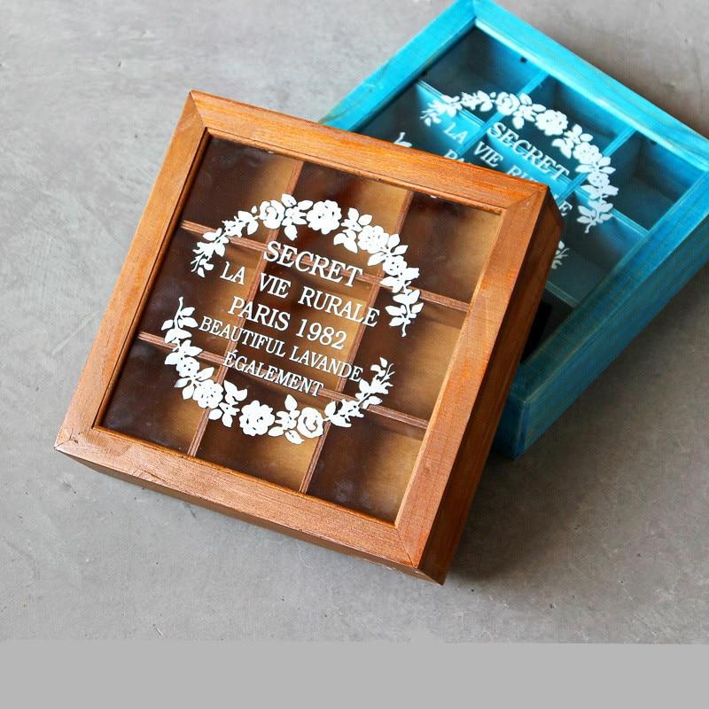 1PCS Wooden retro desktop storage box Storage box jewelry box clamshell 9 glass cover wooden box