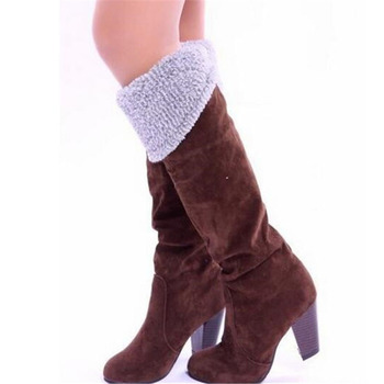 COVOYYAR 2019 Flock Knee High Boots Fashion Buckle Women Boots Thick High Heel Winter Shoes Woman Big Sizes 34~43 WBS105 3