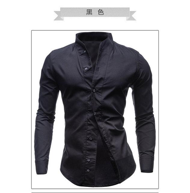 Азия Размер Не Размер США! Новый весной и летом 2017 мужская мода сплошной цвет с длинными рукавами рубашка большой размер M-XXL