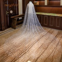 Cathedral Wedding Veil With Comb Star arrangement Appliques Soft Lace 3m Meters Long Bridal Veil Wedding Accessories 2019