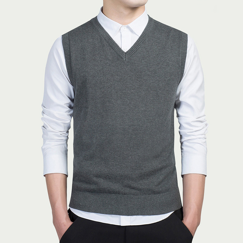 Men's Knitted Slim Sweater Vests Tops Sleeveless V-Neck Solid Male Pullover Sweaters 2019 Fashion Streetwear Man Vest Clothes