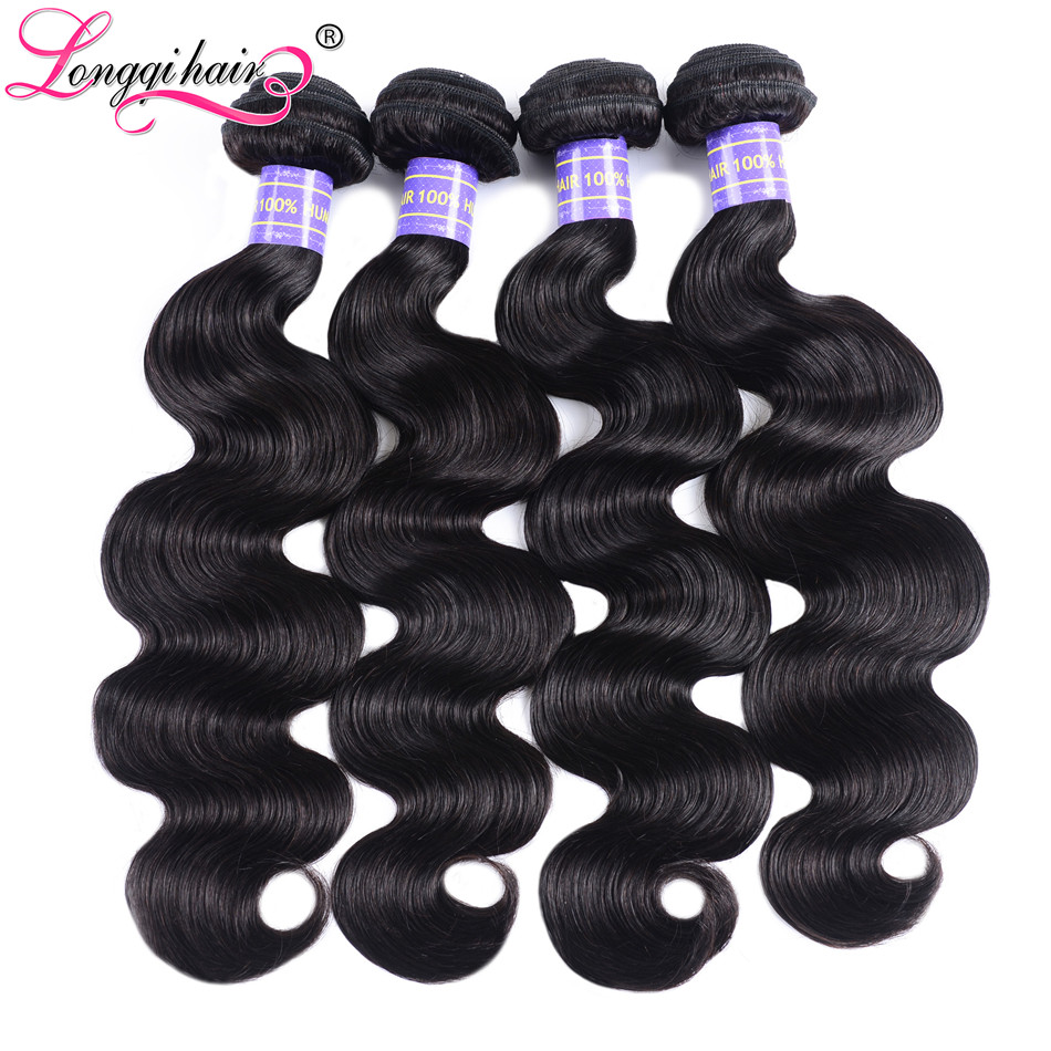 Human Hair Weaves Cooperative Longqi Hair Hurela Series Brazilian Body Wave 4 Bundle Deals Jet Black Remy Human Hair Weaves Double Weft 8-30 Inch