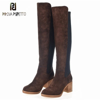 Prova Perfetto 2018 Autumn Winter Genuine Leather Thick Heel Woman Boots Look Thin Keep Warm Long Boots Large Size Cotton Boots
