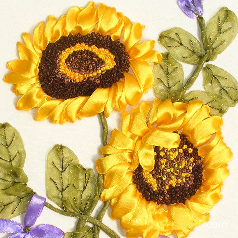Golen Sunflower Pattern Painting DIY Ribbon Embroidery Easy Cross Stitch Needlework Kit Home Wall Decoration Flower Series In From Garden