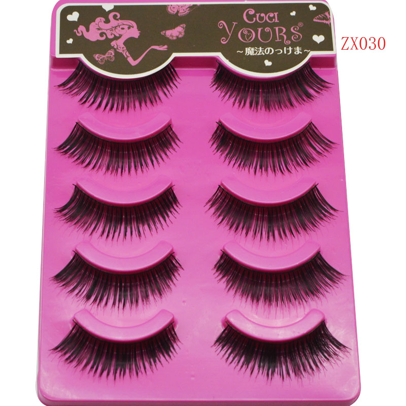 5pairs Makeup Long Natural False Eyelashes Thick Messy Fake Eyelashes Handmade Transparent Stems Lashes Extention Tools C177
