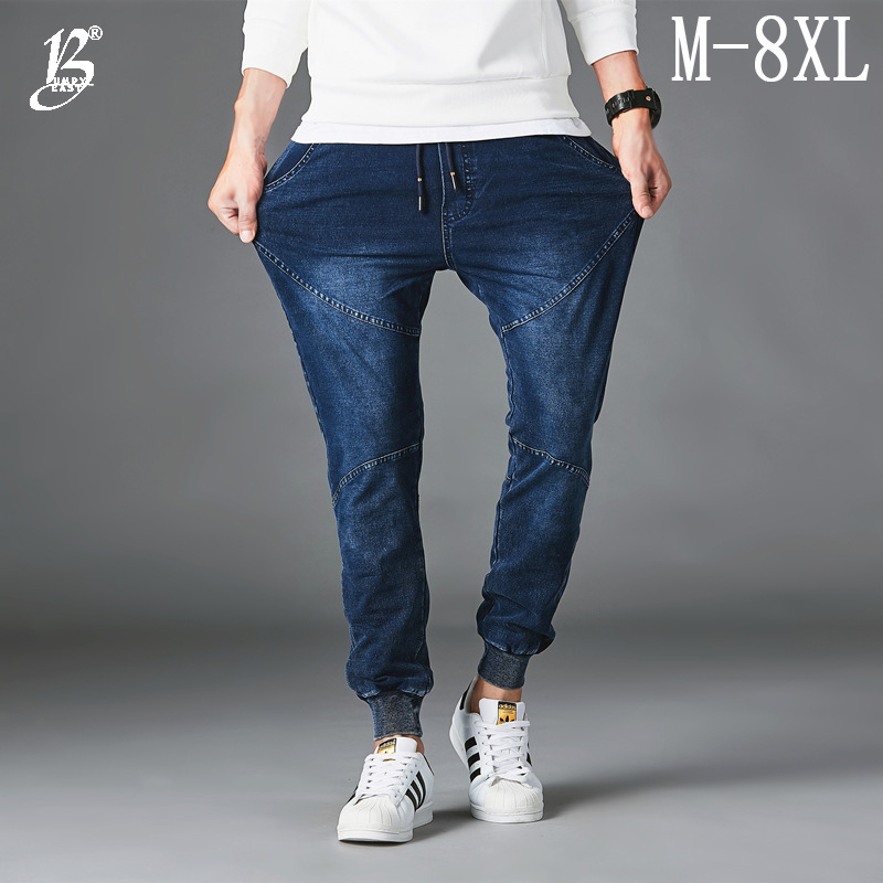 Bumpybeast men's   Jeans   Comfortable Cotton Fashion Elastic band Blue Black Loose Solid Elastic Denim Trousers Plus Size M-8XL