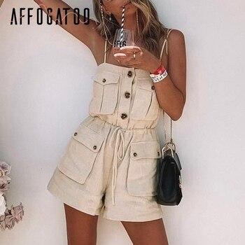 Affogatoo Sexy vintage strap women romper jumpsuit Casual button pocket lace up jumpsuit Summer loose cotton romper female 2019 1