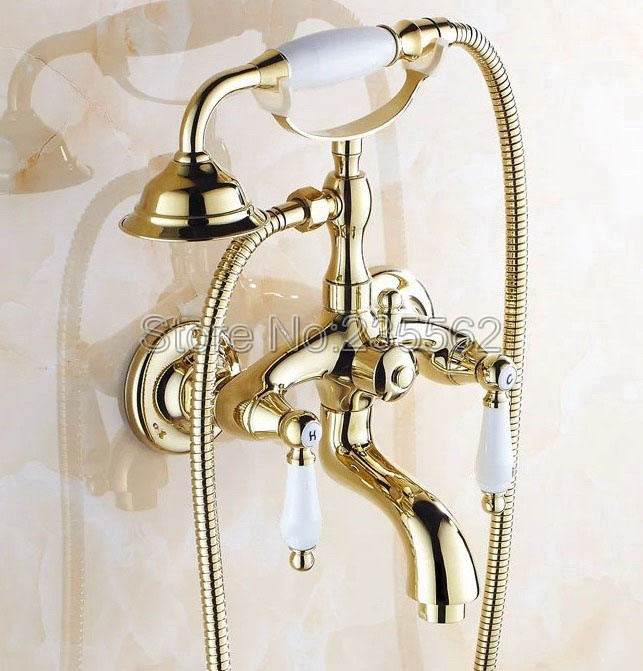 Golden Brass Bathroom Shower Bathtub Faucet Wall Mounted Dual Ceramic Handle Cold & Hot Water Mixer Tap + Hand Shower ltf084 china sanitary ware chrome wall mount thermostatic water tap water saver thermostatic shower faucet