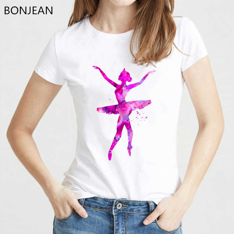 Różowa koszulka z nadrukiem baleriny kobiety taniec baletowy koszulka z krótkim rękawem femme lato harajuku kawaii ubrania biała koszulka drop shipping