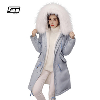 Fitaylor Winter Women Long Thick Warm Cotton Jacket Hooded Coat Female Fur Collar Slim Jacket Ladies