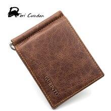 DERI CUZDAN Famous Brand Men's Money Clip Vintage Genuine Cowhide Leather Portfolio Men wallets Open Clamp For Money Card Pocket
