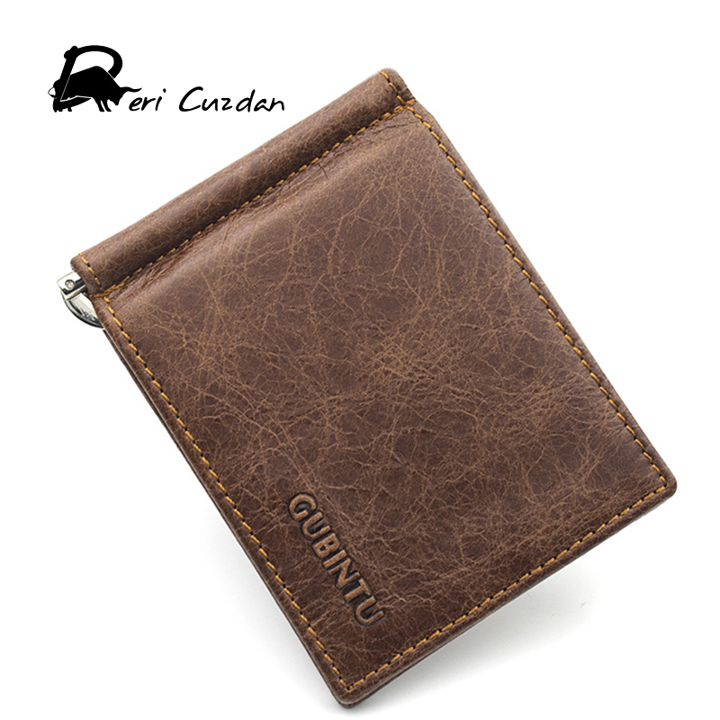 DERI CUZDAN Famous Brand Men's Money Clip Vintage Genuine Cowhide Leather Portfolio Men wallets Open Clamp For Money Card Pocket